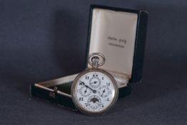 GENTLEMENS CALENDAR MOONPHASE POCKET WATCH, circular quadruple register dial including date and