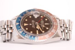VINTAGE ROLEX OYSTER PERPETUAL GMT MASTER REFERENCE 1675 CIRCA 1961, circular tropic gilt chapter
