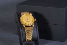 GENTLEMENS ORIS WRISTWATCH W/ BOX, circular gold dial with gold hour markers and hands, 35mm gold