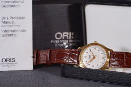 GENTLEMENS ORIS AUTOMATIC CALENDAR WRISTWATCH W/ BOX & PAPERS REF. 654 7470, circular silver dial