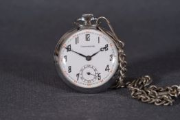VINTAGE CHRONOMETRE POCKET WATCH CIRCA 1920s, circular white dial with arabic numeral hour markers