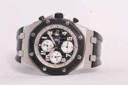 AUDEMARS PIGUET ROYAL OAK OFFSHORE, black dial with luminous Roman numerals, triple register,