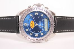 BREITLING ACADEMY CHRONOGRAPHE LIMITED EDITION REFERENCE A51038, Blue dial with digital and analog