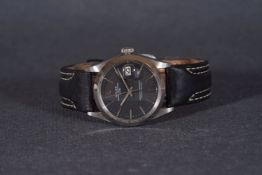 GENTLEMENS ROLEX OYSTER PERPETUAL DATE WRISTWATCH REF. 1500 CIRCA 1969, circular black dial with