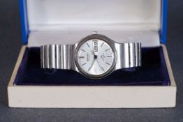 GENTLEMENS SEIKO LORD MATIC DAY DATE WRISTWATCH W/ BOX, circular silver dial with silver hour