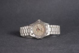 GENTLEMENS TAG HEUER PROFESSIONAL DATE WRISTWATCH, circular silver dial with lume green hour markers