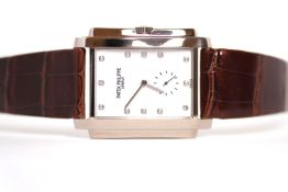 FINE PATEK PHILIPPE 18CT GONDOLO REFERENCE 5024 WITH ARCHIVE PAPERS, mother of pearl diamond set