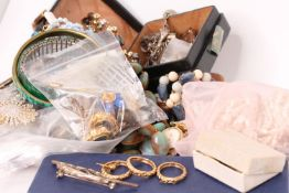 Large quantity of misc modern and vintage costume jewellery including; beads, brooches and watches