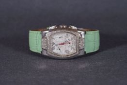 LADIES AQUA MASTER DIAMOND SET 'SAM 11' CHRONOGRAPH WRISTWATCH, tonneau mop triple register dial