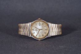 ***TO BE SOLD WITHOUT RESERVE*** GENTLEMENS EBEL DATE WRISTWATCH, circular mother of pearl dial with