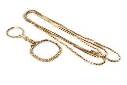 9ct long chain, flat link chain, 18g, together with a Victorian magnifying glass, with engraved