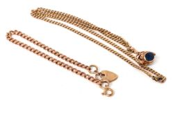 9ct curb link chain with swivel fob, 20.1g gross, together with a 9ct rose gold curb link