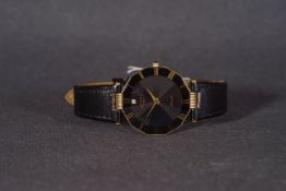 ***TO BE SOLD WITHOUT RESERVE*** GENTLEMENS ROTARY DIAMOND WRISTWATCH, circular black dial with
