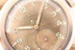 VINTAGE CYMA WWW MILITARY WRISTWATCH, circular patina dial with Arabic numerals, subsidary seconds