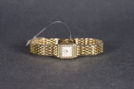 LADIES ACCURIST 9CT GOLD WRISTWATCH, square white dial with gold hour markers and hands, gem set