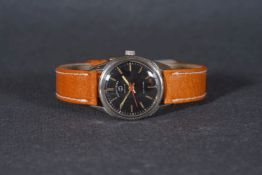 MID SIZE FAVRE-LEUBA SEA KING WRISTWATCH, circular black dial with gold tone hour markers and hands,