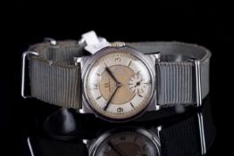 GENTLEMENS OMEGA FOBOIS WRISTWATCH CIRCA 1930s, circular two tone dial with pencil hour markers
