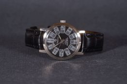 GENTLEMENS TRESSA WRISTWATCH, circular black dial with domino hour markers and hands, 35mm stainless