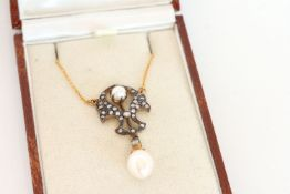 Pearl and Diamond Necklace, set with 2 pearls, surrounded by diamonds