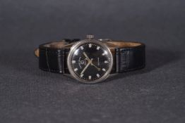 MID SIZE FAVRE-LEUBA SEA KING WRISTWATCH, circular black dial with silver hour markers and hands,