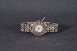 LADIES MUST DE CARTIER QUARTZ WRISTWATCH, circular white dial with roman numeral hour markers on the