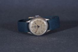 GENTLEMENS UNITAS WRISTWATCH, circular silver dial with arabic numeral hour markers and pencil