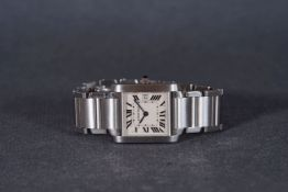 LADIES CARTIER TANK FRANCAISE WRISTWATCH REF. 2465, square off white dial with black roman numeral