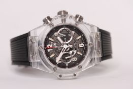 HUBLOT BIG BANG UNICO MAGIC SAPPHIRE WRISTWATCH LIMITED EDITION OF 500 REFERENCE 411.JX.1170.RX,
