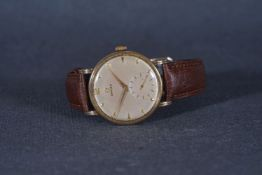 GENTLEMENS OMEGA OVERSIZE 14CT GOLD WRISTWATCH, circular silver dial with gold hour markers and