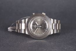 GENTLEMENS OMEGA CHRONOSTOP DATE WRISTWATCH, circular grey dial with applied block hour markers