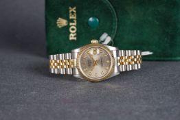 LADIES ROLEX OYSTER PERPETUAL DATEJUST DIAMOND SET WRISTWATCH REF. 68273, circular monogram