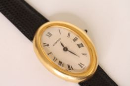LADIES VINTAGE CARTIER BAIGNOIRE 18CT REFERENCE 4048, oval dial with Roman numerals, inner case back