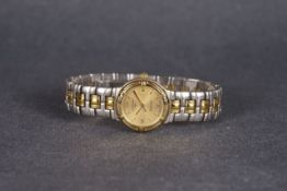 LADIES LONGINES FLAGSHIP WRISTWATCH, circular gold dial with applied gold hour markers and hands,