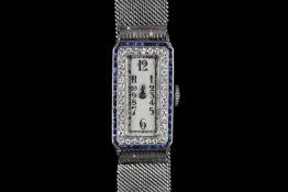 STUNNING PLATINUM AUDEMARS PIGUET VINTAGE DRESS WATCH CIRCA 1920,set with a sapphire and diamond