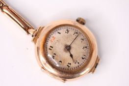 George V 15CT LADIES ROLEX, circular patina dial with Arabic numerals and red 12, rose gold case and