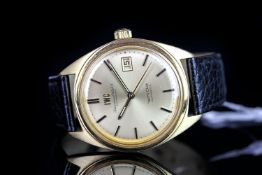 GENTLEMENS IWC SCHAFFHAUSEN YACHT CLUB AUTOMATIC WRISTWATCH, circular gold colour dial with gold