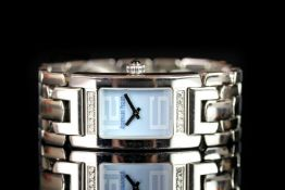 RARE LADIES AUDEMARS PIGUET PROMESSE WRISTWATCH REF E11963, rectangular baby blue dial with straight