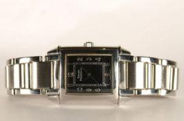 LADIES GIRARD PERREGAUX WRISTWATCH REF 2591, rectangular black dial with arabic numbers, 23mm
