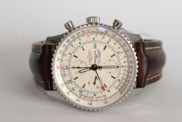 GENTLEMEN'S BREITLING CHRONOMETRE NAVITIMER REFERENCE A24322 W/BOX + PAPERS, white dial with baton