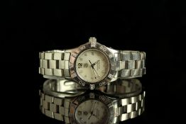 LADIES DIAMOND SET TAG HEUER AQUARACER WRISTWATCH MODEL WAF141G, circular silver diamond dot dial