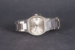 GENTLEMENS LONGINES AUTOMATIC WRISTWATCH, rounded oval silver dial with hour markers and hands, 35mm