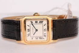 LADIES CARTIER SANTOS 18CT GOLD WRISTWATCH, rounded square beige dial with black roman numeral