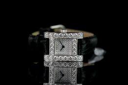 LADIES CHOPARD DIAMOND SET H WRISTWATCH REF 493 1, square pave set diamond dial, diamond set bezel