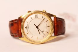 GENTLEMENS JAEGER-LECOULTRE MEMOVOX LIMITED EDITION OF 350, circular off white dial with gold hour