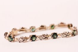 9CT GREEN STONE AND DIAMOND FANCY BRACELET, total weight 9.6gms, length 17cms.