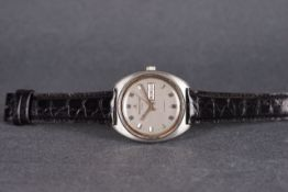 GENTLEMENS JAEGER LE COULTRE CLUB WRISTWATCH, circular grey dial with block hour markers and
