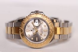 LADIES ROLEX OYSTER PERPETUAL YACHT-MASTER REFERENCE 69623, circular silvered dial, luminous hour