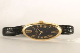 RARE LADIES BAUME & MERCIER BAIGNOIRE WRISTWATCH REF. 38261, oval black dial with gold leaf hands,