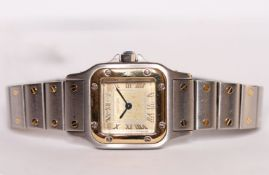 LADIES CARTIER SANTOS STEEL & GOLD WRISTWATCH REF. 1567, square gold brushed dial with gold roman