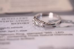 0.55ct Three stone diamond ring, Leo diamonds, estimated total weight 0.55ct, with IGI certificate